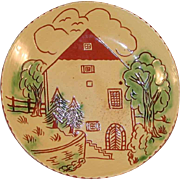 "1986 Breininger 7"" Redware Yellow Pie Plate Sgraffito Decorated H. Zeller House"