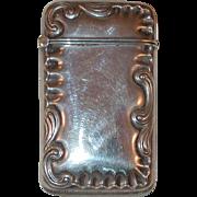Antique Sterling Silver Match Safe or Vesta Repousse Scroll Border Hayden Manufacturing Co