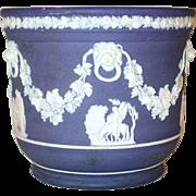 Antique Wedgwood Jasperware Dark Blue Deep Pot Vine, Lion Heads and Greek Allegorical Scenes