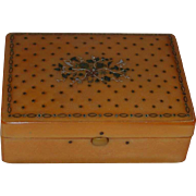 Antique Caramel Colored Snuff or Small Box Bakelite Hinged Lid Inlaid w/ Silver