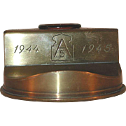 World War II Trench or Shell Art 75 MM Artillery Shell Inkwell US Army Hospital Ship Ernest Hinds