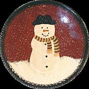 2000 Foltz Glazed Redware Plate Christmas Slip Decoration Frosty the Snowman