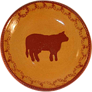 1985 Redware Large Pie Plate Glazed Brown Coloring with Mottling Brown Slip Cow Decoration By Ned Foltz
