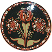 2008 Glazed Large Redware  Moravian Style Sgraffito Decorated Plate Tulips Design by Lester Breininger