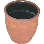 Antique Redware Crock or Apple Butter Pot By John Bell Paint with Decorated Exterior