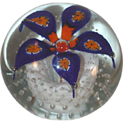 1970s Blown Art Glass Paperweight Cobalt Blue and Orange Flower By Henry Davis