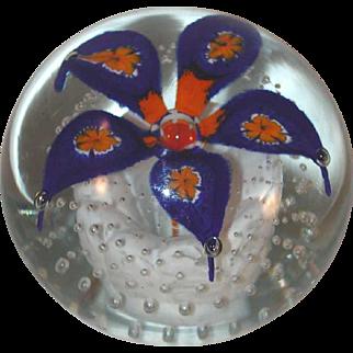 1970s Blown Art Glass Paperweight Cobalt Blue and Orange Flower By Henry Davis