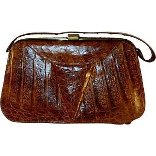 Vintage Alligator Skin Purse with Strap Golden Lock