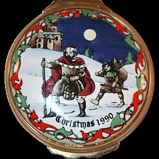 Christmas 1990 Halcyon Days Enamels Round Box Good King Wenceslas Carol Made in England