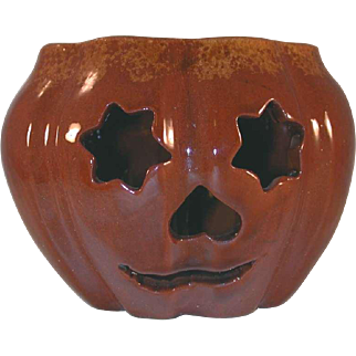 1990 Redware Glazed Brown Colored with Mottling Halloween Jack O Lantern By Ned Foltz