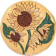 1995 Glazed Small Redware Sgraffito Decorated Pie Plate Colorful Sunflowers Design by Lester Breininger