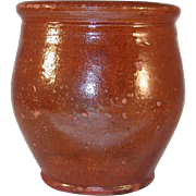 Antique Small Redware Glazed  Apple Butter Crock Southeastern Pennsylvania
