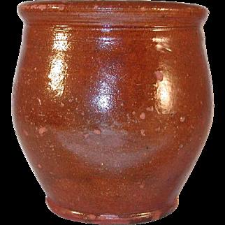 Antique Small Redware Glazed  Apple Butter Crock Southeastern Pennsylvania