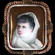 Antique Hand Painted Porcelain Brass Bezel Pin Brooch Woman Miniature