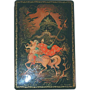 1976 Kholui Russian Lacquer Box Scene from Ruslan and Ludmilla Fairy Tale Artist Signed