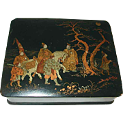 Large Antique Japanese Lacquer Box Black with Painted Lid Six Men and a Horse Proceeding in The Dark of Night