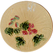 German Zell GS Majolica Plate Grapes and Leaves on Branches Yellow Basket Weave