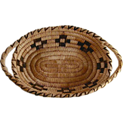 Antique Papago Indian Basket Crosses Design Nice Size Serving Tray with Handles
