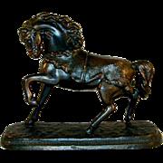 Vintage Heavy Bronze Figurine Beautiful Prancing Horse Rectangular Flat Base
