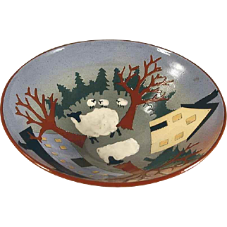 1999 Deep Pottery Bowl Sgraffito Decorated Farm Scene By Vaughan Smith Westcote Bell Pottery