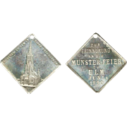 German Medal Silver Colored Medal Dated  June 1890 Commemorating The Celebration of Completion To Munster Ulm