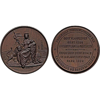 1899 Beautiful Bronze Medal Provincial Exposition of East Flanders Ghent Belgium By LeMaire