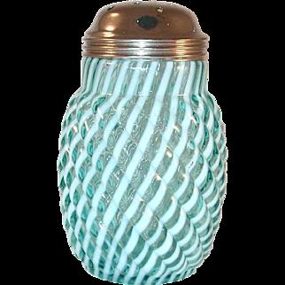 Translucent Blue Mold Blown Glass Swirl w/ White Stripes Muffineer Sugar Shaker