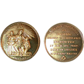 1830 Great Britain Bronze Gilt Medal Freemason Masonic Charity & Benevolence