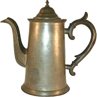 Vintage Tall Pewter Teapot Hinged Domed Lid with Finial and Hollow Applied Handle