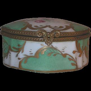 Vintage France Hand Painted Porcelain Box Floral Design Inside Out Golden Accent