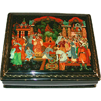 Palekh Large Russian Lacquer Box  Scene from Snow Maiden Fairy Tale Signed Burkova
