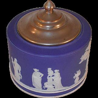 Antique Dark Blue Colored  Beautiful Wedgwood Jasperware Round Sugar Bowl with Metal Lid