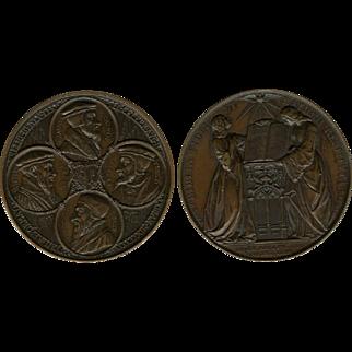 1835 Large Heavy Geneva Reformation Tercentenary Celebration Bronze Medal Busts of Calvin, Viret, de Beze, Farel By Bovy