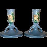 "Rare Roseville Pottery Pair of Blue Columbine Candlestick Holders 1146-4 1/2"""
