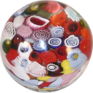 Vintage Murano Italy Blown Art Glass Dome Shape Paperweight Colorful Millefiori Design