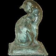 Interesting Decorative Heavy Cast Brass Cat on Pillow Figurine