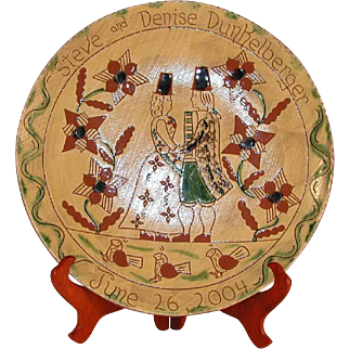 2004 Glazed Large Redware Sgraffito Decorated Charger Steve and Denise Dunkelberger Wedding by Lester Breininger