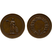 1877 Large and Heavy Bronze Netherlands Medal Platinum Jubilee of The Society for The Promotion of Industry Designed by J P Menger