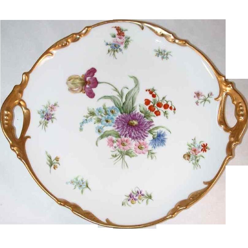 1929 Hand Painted Handpainted Limoges France J Pouyat Platter Floral Decoration & Golden Rim