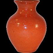 Old Glazed Speckled Orange Redware Miniature Vase Jugtown Pottery North Carolina