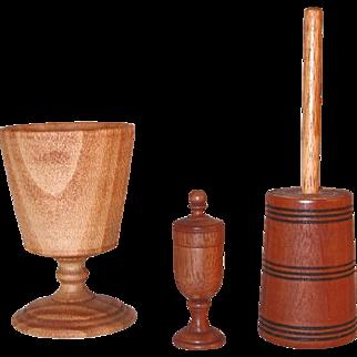 1978-1983 Three Turned Wood Pieces Chalice Churn Miniature Saffron Cup A E Shupp