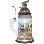 German Karl Rau Porcelain Regimental Stein Lithophane Cannon Lid Flower Thumb piece