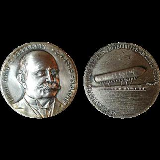 Portrait Silver Medal Ferdinand Graf von Zeppelin and The First Flight of a Zeppelin Airship in 1900