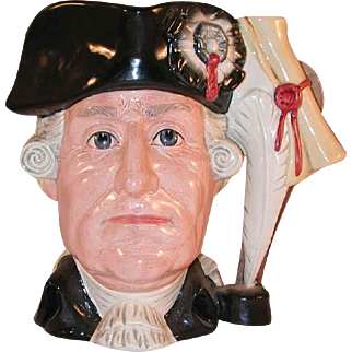 1985 Large Royal Doulton Toby Mug Antagonist Collection George III vs. George Washington Ltd. Ed. No. 2302 of 9500 By Michael Abberley