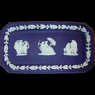 Vintage Cobalt Blue Colored Beautiful Wedgwood Jasperware Small Pin Tray