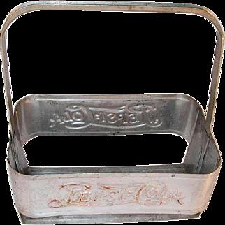 1940s Aluminum Pepsi Cola Carrier Remnants of Original Color Extendable Handle