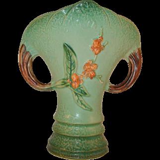 """Rare 1950s Roseville Art Pottery Green Bittersweet Pillow Vase 884-8"""""""