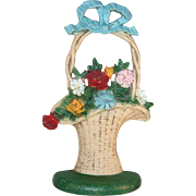 Vintage Cast Iron Doorstop Flowers in French Basket Number 69 By Hubley