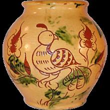 1988 Yellow Glazed Redware Round Jar Sgraffito Distelfink & Tulip L. Breininger