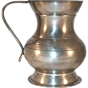 Vintage Pot Belly Pewter Lidless Tankard or Mug Strap Handle England Hallmarked